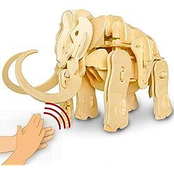 MotionjoysonidoControlrobótica3DrompecabezasdemaderadinosauriocaminaPuzzleRobotJuguetes-Topimaginaciónedificiojugueteartesanalparaniñosyadultos+mejorregalodeNavidadparaniñosyniñas (Mammoth)