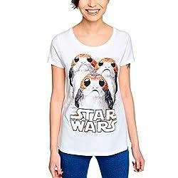 Star Wars Damen T-Shirt Triple PORG The Last Jedi Elbenwald Baumwolle weiß - M