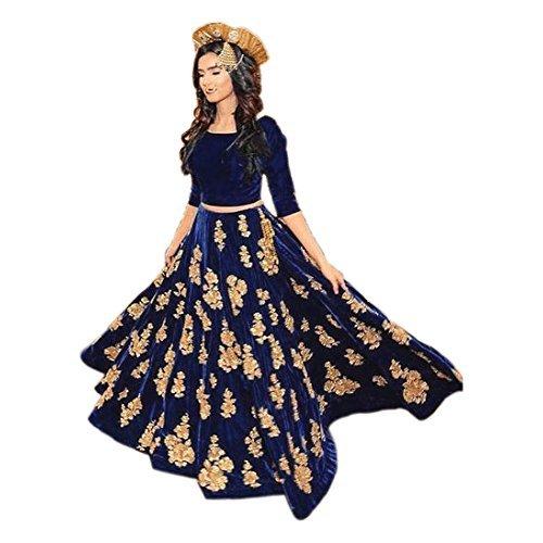 Ethnic Empire Women's Velvet Semi Stitched Lehenga Choli (Ethnic001_Er10610_Navy Blue_Free Size)