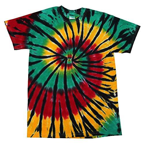 Colortone - Unisex Batik T-Shirt 'Swirl' / Rasta Web, L -