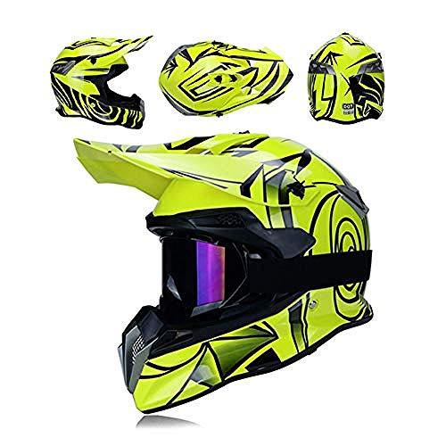 Wanmei Casco Profesional de Motocross con Gafas para Hombre Motocicleta Casco Off...