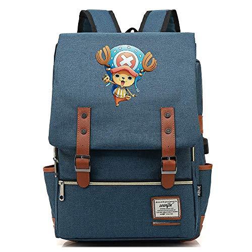 Mann Kostüm Jugend Blue - JJJDD One Piece Jugend Student USB Tasche Männer und Frauen 16 Zoll Freizeit Reisetasche @ Dark Blue_16 Zoll