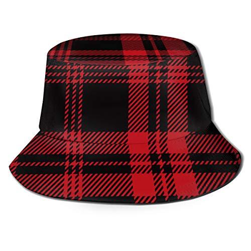 Multi Plaid Reversible Hut - Schwarz und rot Tartan Plaid 1240340512