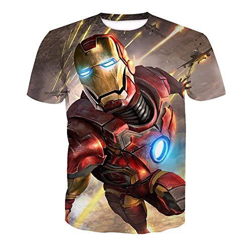 3D T-Shirt Unisex HD Gedrucktes Rundhalsausschnitt Lässig Mit Print Kurzarm Top Iron Man XS (Man Kostüm Paare Iron)