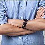 Murtoo Echt-Leder Armband schwarz braun mit Edelstahl Magnet verschluss 8.07″(21cm) - 3