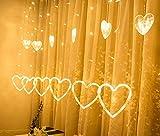 QIFUD LED Lights Luce della stringa, 5 M, 12 Lampada forma di amore, Corona di fiori a forma di amore LED / uso esterno, luci di striscia, a batteria, Albero di natale, Matrimonio, Halloween, anni del