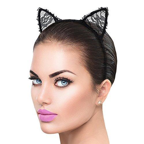 LUX accesorios para niñas accesorio de disfraz de orejas de gato diadema -  negro -