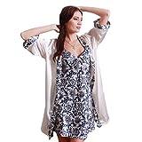 Nanxson(TM) Ensemble Robe Et Veste Vêtement De Nuit Soie Imprimé Pour Femmes SYW0024 (bleu)