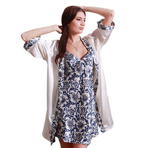 Nanxson(TM) Ensemble Robe Et Veste Vêtement De Nuit Soie Imprimé Pour Femmes SYW0024 Bleu