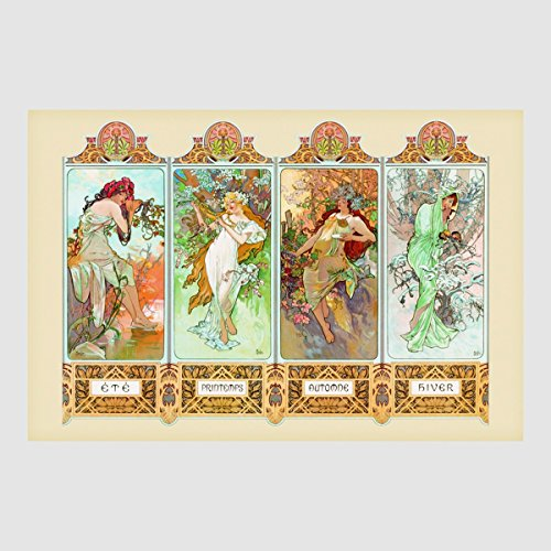 Kunstdruck Poster - Die Vier 4 Jahreszeiten Four Seasons 61 x 91,50 cm ohne Rahmen -