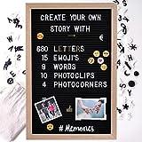Gadgy Filz Letterboard + 15 Emojis, 10 Fotoclips, 4 Fotoecken, 680 golden & weiße Buchstaben l 46 x 31 cm
