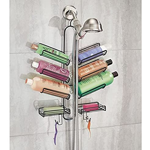 mdesign duschablage praktisches duschregal ohne bohren duschkorb zum hngen aus metall fr smtliches duschzubehr aus rostfreiem metall mattschwarz - Duschzubehor Zum Hangen
