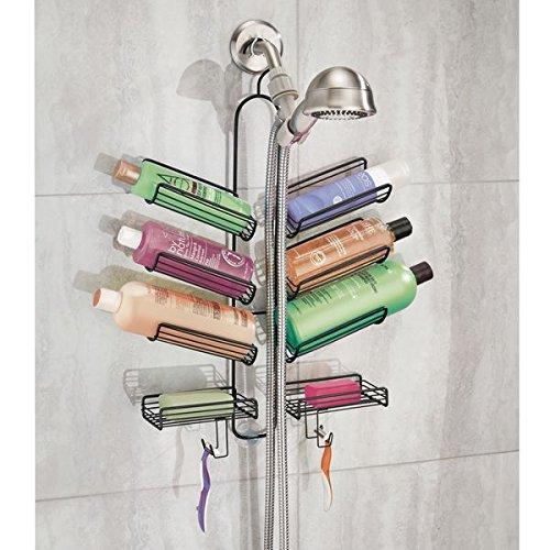 mDesign Duschablage ? praktisches Duschregal ohne Bohren ? Duschkorb zum Hängen aus Metall für sämtliches Duschzubehör aus rostfreiem Metall ? mattschwarz - 3
