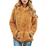 TOPQAQ Hoodie Pullover Damen mit Reißverschluss Kapuzenpullover Mädchen Herbst Winter Flanell Langarm Sweatshirt Winterpullover Jacke Mantel (Braun, M)