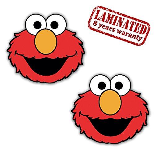 Lustige Elmo (Skino™ 2 Stück Vinyl Aufkleber Autoaufkleber Stickers Elmo Sesame Street Sesamstrasse Auto Motorrad Fahrrad Tuning B 436)