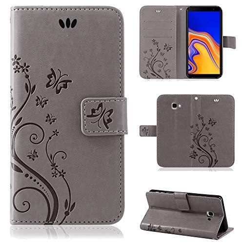betterfon | Flower Case Handytasche Schutzhülle Blumen Klapptasche Handyhülle Handy Schale für Samsung Galaxy J4 Plus 2018 Grau