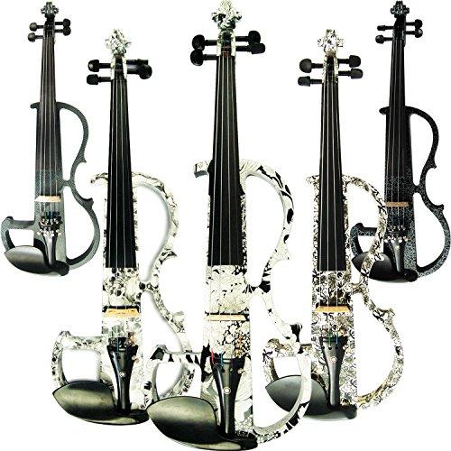 aliyes handgefertigt Professional Silent Elektrische Violine 4/4voller Größe Professional Massivholz Student Violine für Anfänger Kit-Saite für Violinen Schulterstütze, Kolophonium DSG-1310 (Weiße Geige In Voller Größe)