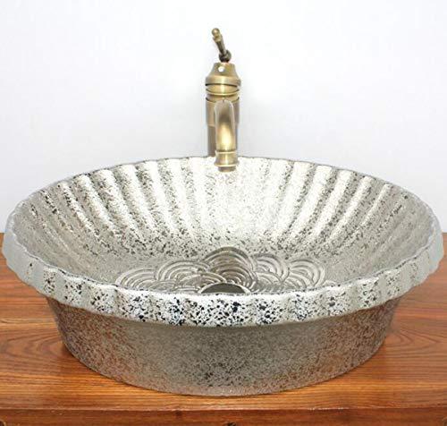 Nanxcyr bagno porcellana vaso di ceramica del dispersore di vanità art bacino sopra il bacino a mano contatore moderno con olio di bronzo lucidato rubinetto e pop-up di scarico combo,g