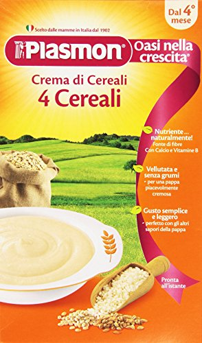 Plasmon - Crema di cereali, 4 Cereali, Indicato dal 4⁰ Mese Compiuto - 12 pezzi da 230 g [2760 g]