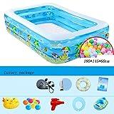 Blau Baby Aufblasbare Pool 3 Ringe Rechteck Familie Sehr Große Planschbecken 180 * 145 * 60 cm ( Farbe : Luxury package )