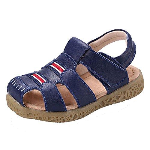 GESIMEI Unisex-Kinder Sandalen Geschlossene für Jungen Mädchen Leder Lauflernschuhe Klettverschluss Leichte Sommerschuhe Blau 25 EU, Bestellgröße 26