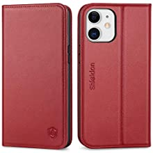 """SHIELDON iPhone 12 Mini Wallet Case, Shockproof Genuine Leather Case with RFID Blocking, TPU Shell, Kickstand, Card Slots, Magnetic Closure, Flip Cover Compatible with iPhone 12 Mini, 5.4"""", Wine Red"""