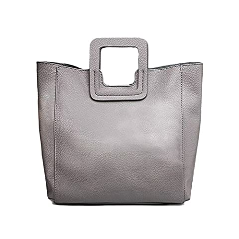 Sheli Streets of Paris Fashion Large Square Leather Tote with Convertible Strap