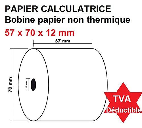 10 Papierrollen für Rechner und Kassen mit Papierdruck NON THERMAL Papier 1 Blatt 60 g Rolle Weiß 57 x 70 x 12 mm - Rollenbuch, große Kapazität 40 Meter