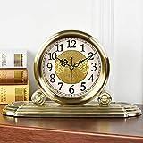 CWLLWC tischuhr standuhr, Metall stumm Uhr Runde kreativ Metall Verzierungen