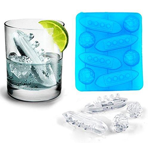 daliuing Eiswürfelform Titanic Form Silikon Ice Formen 8Fächer Form Perfekt Für Wasser Whiskey Cocktail und andere Drink