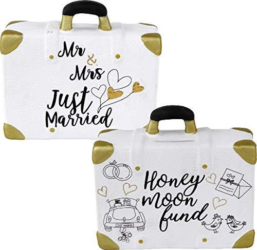 Spardose Reise-Koffer Flitterwochen Just Married Hochzeit Spar-Büchse-Schwein Ehe-Braut-Paar Bräutigam Vermählung Trauung Liebe Geld-Geschenk-Idee