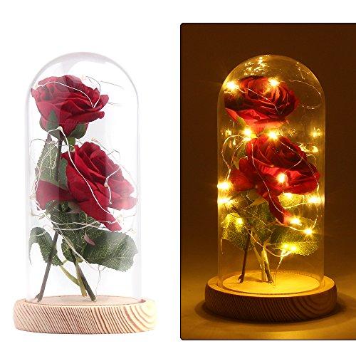 Konesky 2PCS Rosa Artificial con 20 Led de Luz en una Cúpula de Crist