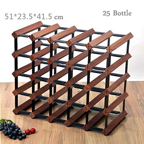 Afranyu Afanyu Weinregal aus Holz | Küchenspeicher-Organisationshalterung | mit Lagerregal Aufbewahrungstasche | Tisch Weinregal aus verzinktem Stahl 25 Flaschen modulares Weinregal Flaschenregal A + -