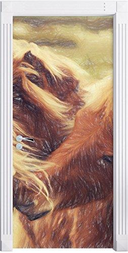 Islandpferde Pony Kunst Buntstift Effekt als Türtapete, Format: 200x90cm, Türbild, Türaufkleber,...