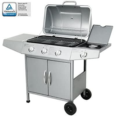 GreenForest® Family Gatherings Set Home Patio Outdoor Garden Trolley BBQ Barbecue Gas Grill 2 Main Burner 1 Side Burner Silver Finish
