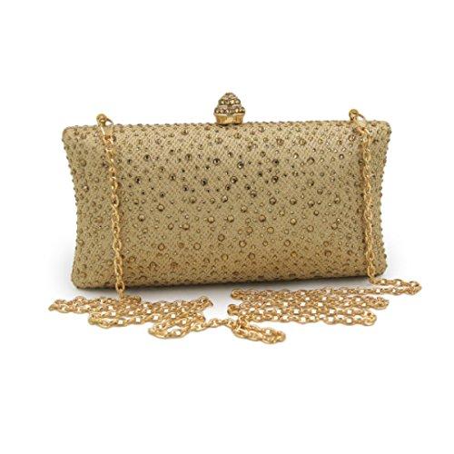 Frauen-High-End-Abendtasche Braut Diamant-Kleid-Beutelhandtasche Gold