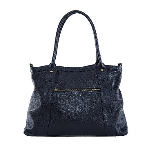 OH MY BAG - Leder Damen Handtasche - Tragbar als HANDTASCHE UND SCHULTER – Modell RANGOON - Genarbtes Leder Dunkelblau