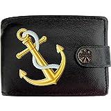 9c7e88f46f9d0 Ships Anchor White Rope Gold Schiffe Anker weißes Seil Klassek Herren  Geldbörse Portemonnaie Brieftasche aus echtem