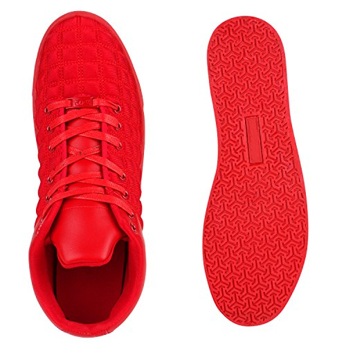 Herren Sneakers Low Gesteppte Turnschuhe Modisch Schnürer Rot