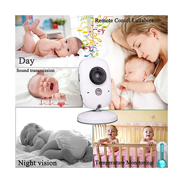 "Tenboo Baby Monitor with Camera Video Baby Monitor Wireless 3.2"" LCD Digital Screen for Signal Transmission Two-Way Talk Support Night Vision Voice Activation Temperature Monitoring Lullabies Tenboo 🎅2.4 GHz Wireless Baby Monitor is the best assistant for parents:safe technology with frequency-hopping provides a private, protected link unlike IP cameras that can be accessed via the Internet. Not restricted by Wi-fi. VOX mode automatically switches the display to ""sleep mode"" to save battery power. The unit reactivates automatically as soon as it makes a noise in the nursery, especially when the baby is crying, the display will change from dark to light 🎅Safe Baby Monitor: Infrared night vision The baby unit of the baby monitor has a calming night light, so that you can keep an eye on your baby even at night, without disturbing it during sleep 🎅Video Baby Monitor Security: 3.2 ""color TFT LCD screen and excellent quality, an ideal choice as a gift for new parents, has 320 * 240 pixels and gives you the ability to clearly monitor your baby. Before using the monitor (with battery) should be fully charged and the camera (without battery) to be operated only with power cord when using the baby monitor for the first time, like the other baby monitors on the market. 7"