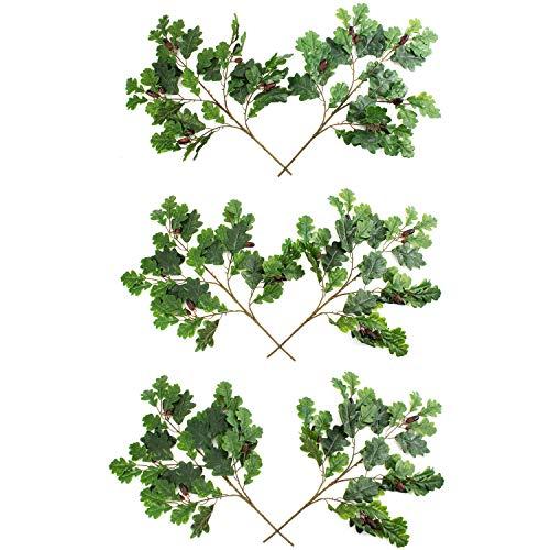 artplants Set 'Künstliche Eichenblätter + Gratis UV Schutz Spray' - Kunststoff Eichenzweig KOUTA, mit Eicheln, 6 Stück, grün, 60 cm