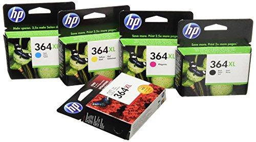HP 364XL – Juego de 5 cartuchos de tinta de inyección (4 x tinta y 1 x tinta fotográfica, 550 páginas per cartucho), color negro/cian/magenta/amarillo