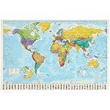 1art1 32100 Weltkarten - Politische Weltkarte, Flaggen Edition 2008 Poster (91 x 61 cm)