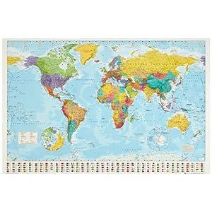 1art1 Mapas – Mapa del Mundo Político con Banderas Póster (91 x 61cm)