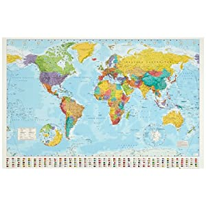 1art132100Mapamundi–Political Mapa del Mundo, banderas Edition 2008Póster (91x 61cm)