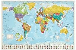 1art1 32100 Poster Cartes Planisphère Politique Drapeaux