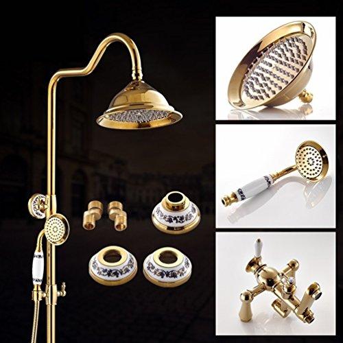 LIUYE Badezimmer Antike Roségold Dusche Gesetzt Hei?en und Kalten Gold Wasserhahn Brautkleider,Gold