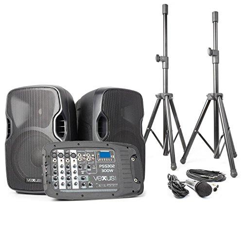 Vexus PSS302 Transportable PA-Anlage DJ-Karaoke-Anlage Lautsprecher-Boxen-System mit Mixer und Ständer (300 Watt max., Bluetooth, MP3-fähiger USB-Slot und SD-Kartenslot, 2 x Stativ 1 x Mikrofon, inkl. Transporttasche) (Dj-setup Mit Lautsprecher)