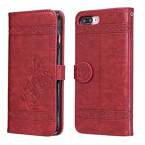 Voguecase Pour Apple iPhone 7 Plus 5,5 Coque, Étui en cuir synthétique chic avec fonction support pratique pour iPhone 7 Plus 5,5 (Modèle en cire d'huile-Jaune)de Gratuit stylet l'écran aléatoire univ Modèle en cire d'huile-Rouge