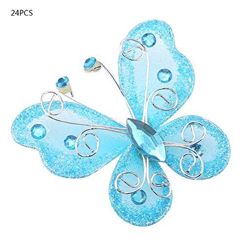 24 Stücke 3D Sheer Mesh Draht Glitter Schmetterling Wanddekoration Aufkleber Kunsthandwerk Aufkleber Schmetterlinge DIY Dekoration(Blau) - La La Schiere Strümpfe